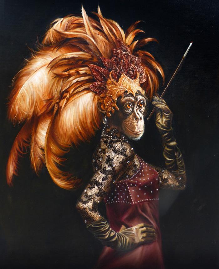 chimpanzee portrait art