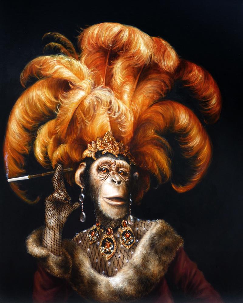 chimpanzee portrait, chimpanzee art