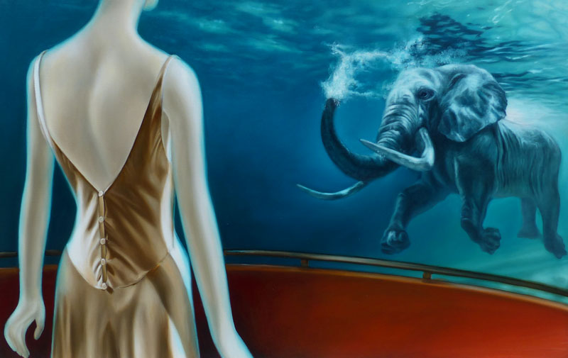 elephant swimming painting