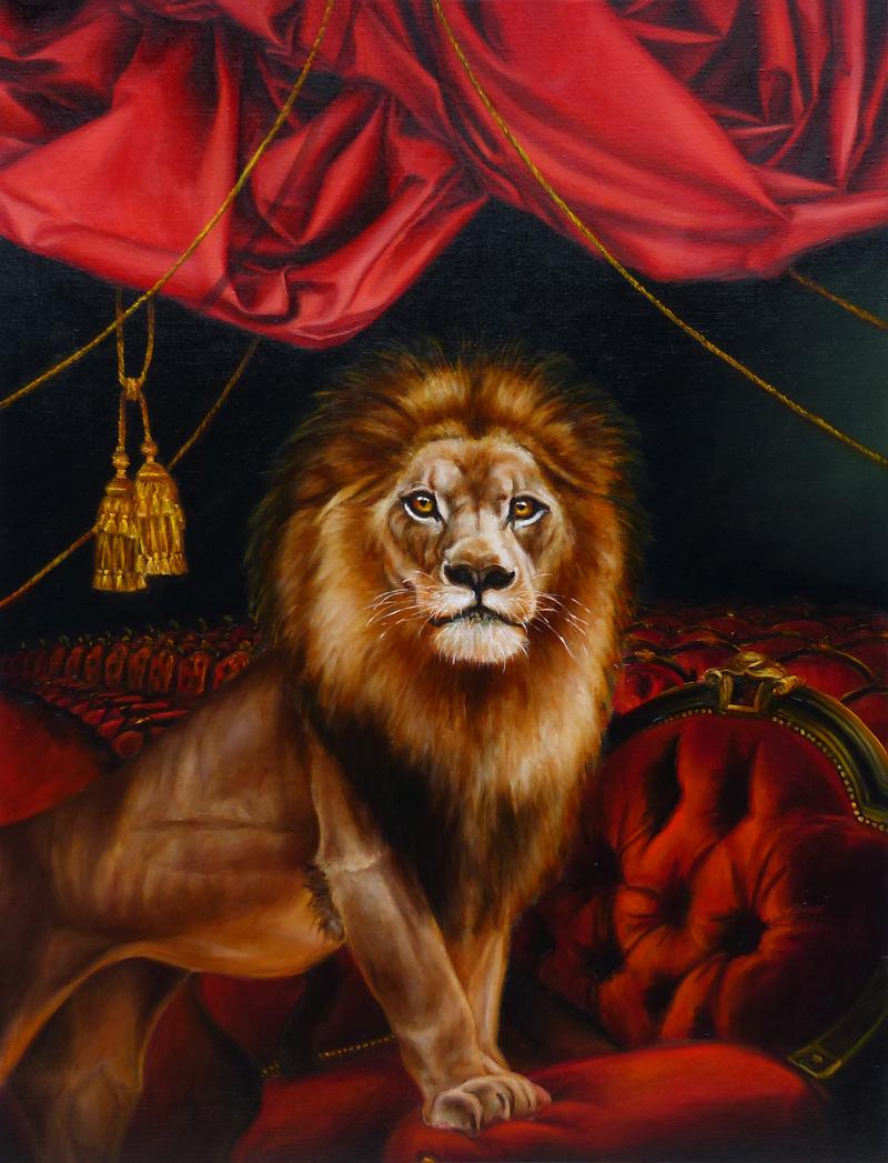lion oil painting marclerest