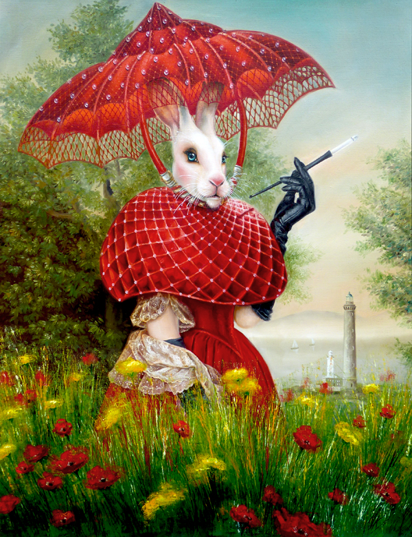 white rabbit painting, animal portrait