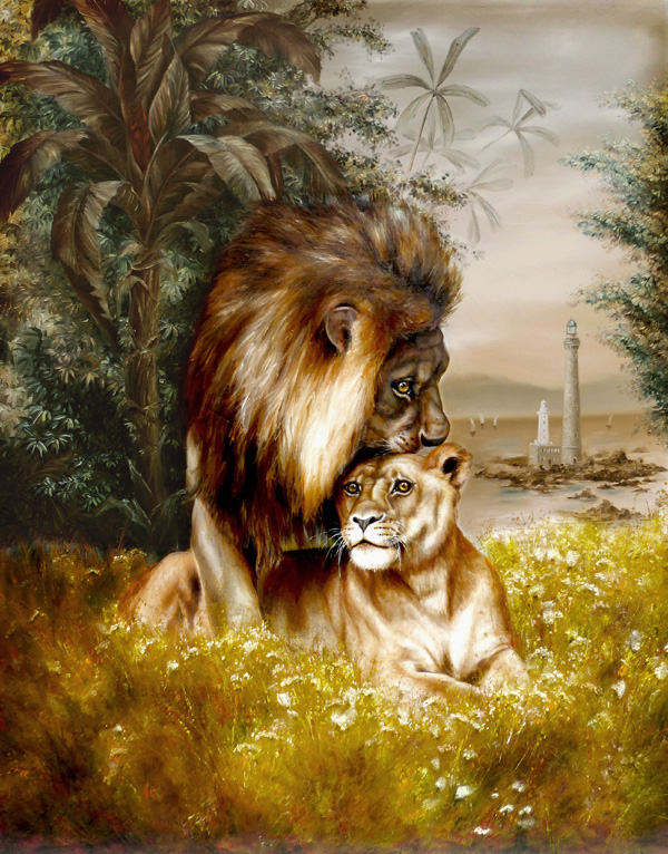 lion painting, dressed lion art