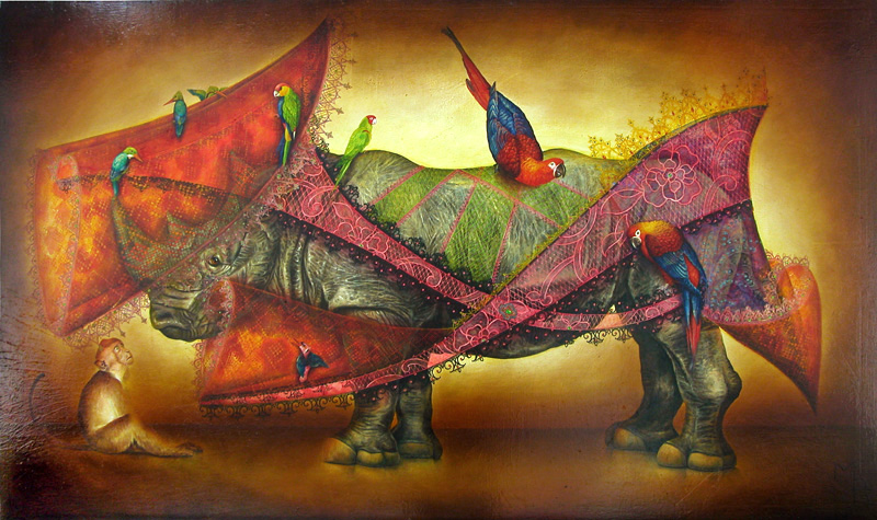 rhinoceros painting, animal artist