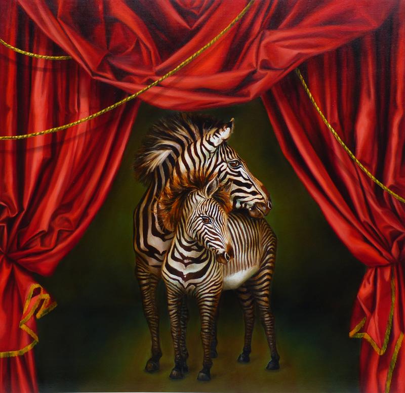 zebra oil painting marclerest